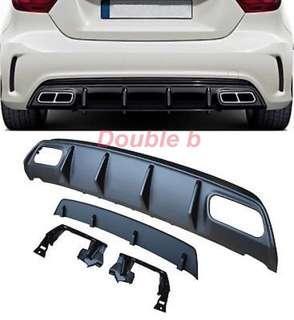Double b BENZ W176 AMG 後期 後下巴 + 尾管 電鍍銀電鍍黑 13~18 高品質 超優密合度