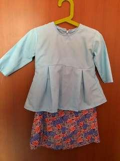 Baby blue toddler baju kurung