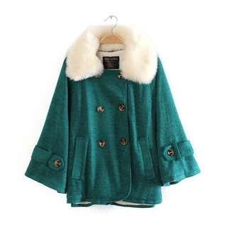 2折❤全新日本CECIL McBEE 綠色蝙蝠袖毛毛領斗篷披肩外套❤ Women Cardigan not Moussy n3b INGNI Heather Chanel YSL Dior F21 Zara 韓國