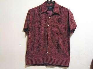 Kemeja Batik Pria Cotten Bay (Merah Maroon / Coklat)