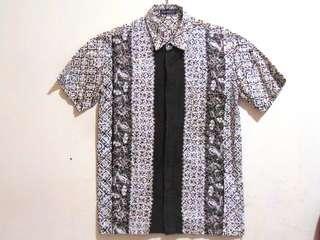 Kemeja Batik Pria Irkhah Pekalongan (Putih Gading - Coklat)
