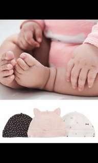 Carter's baby girls 3-pack Caps