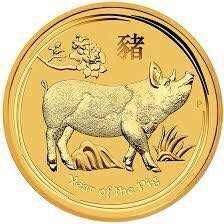 2019 2 Oz Gold Lunar Year of The Pig BU Australia Perth Cap