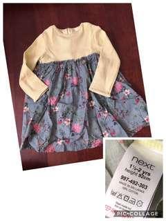 Baju anak perempuan dress next baby authentic 1,5-2y