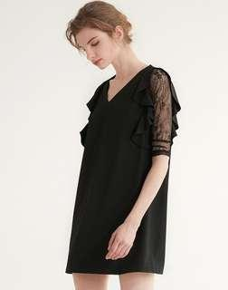 2折❤全新Zara黑色V領喱士中長袖荷葉邊連身裙❤ Lace One Piece Dress 歐美 女裝 連衣裙 not Chanel Dior YSL 韓國 MANGO F21 ASOS