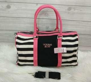 Victoria Secret tas bag travelling peach black pink
