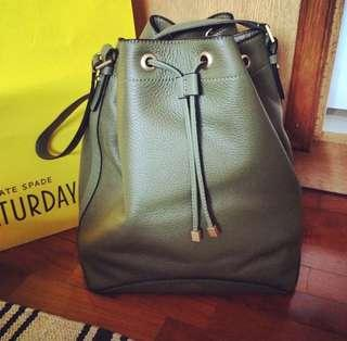 Authentic - kate spade Saturday olive green leather bucket bag