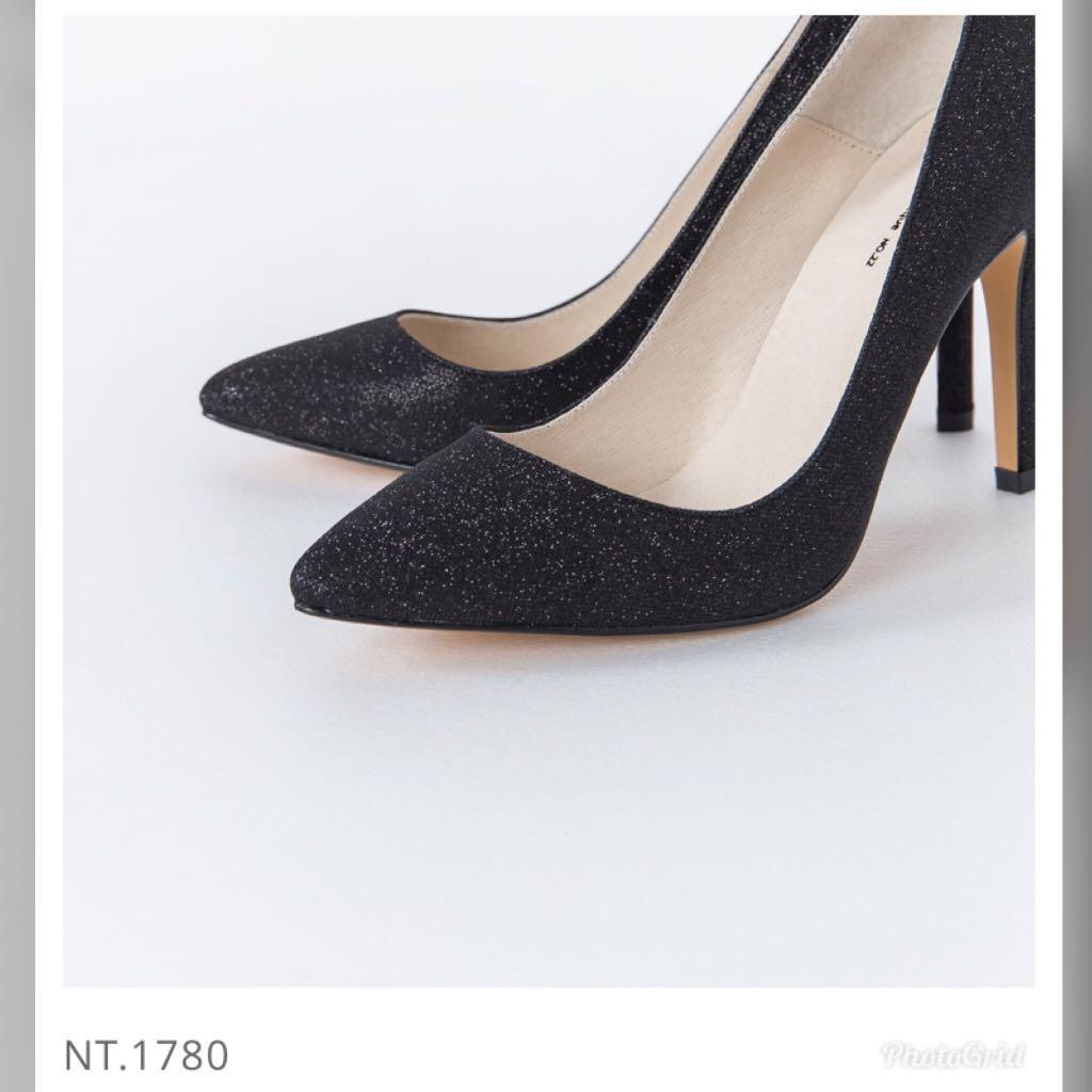 亮片光澤黑色高跟鞋40號