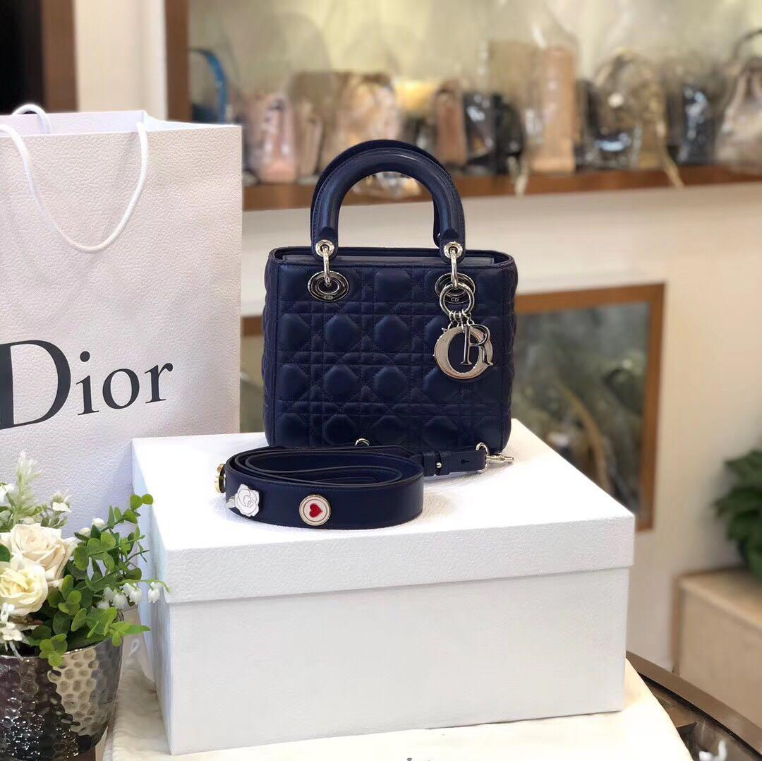 Authentic Pre-loved Christian Dior My Lady Dior Bag in Blue Cannage Leather
