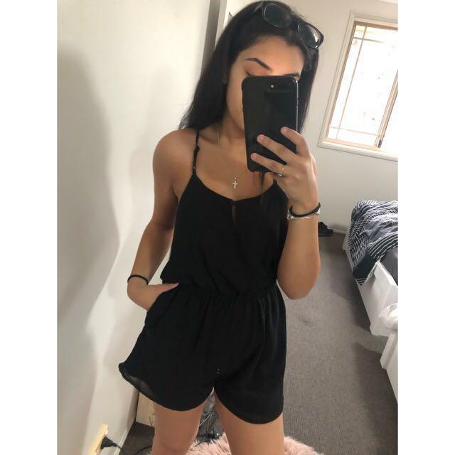 Black strappy playsuit