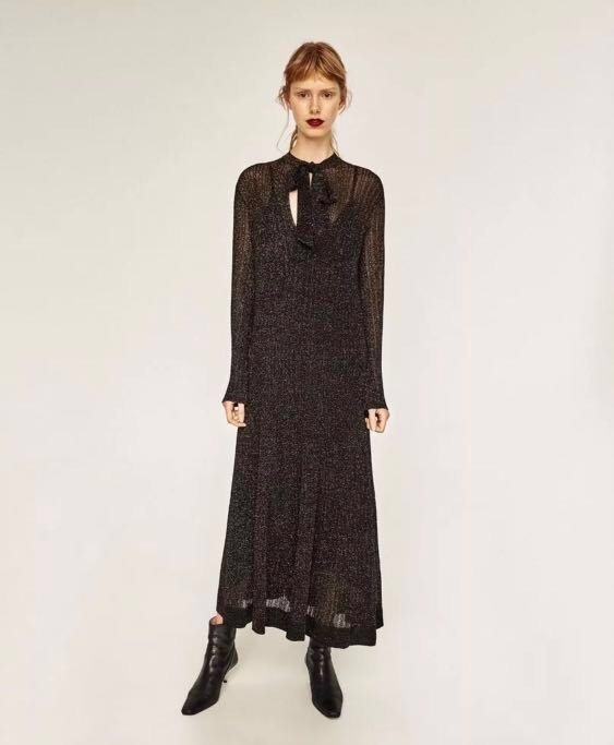 33091c7a Brand new Zara Shimmer Black Maxi Dress, Women's Fashion, Clothes, Dresses  & Skirts on Carousell