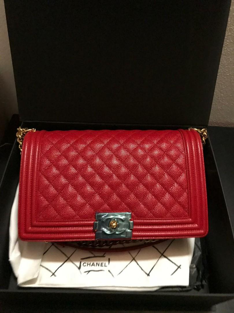 Chanel Boy red leather bag