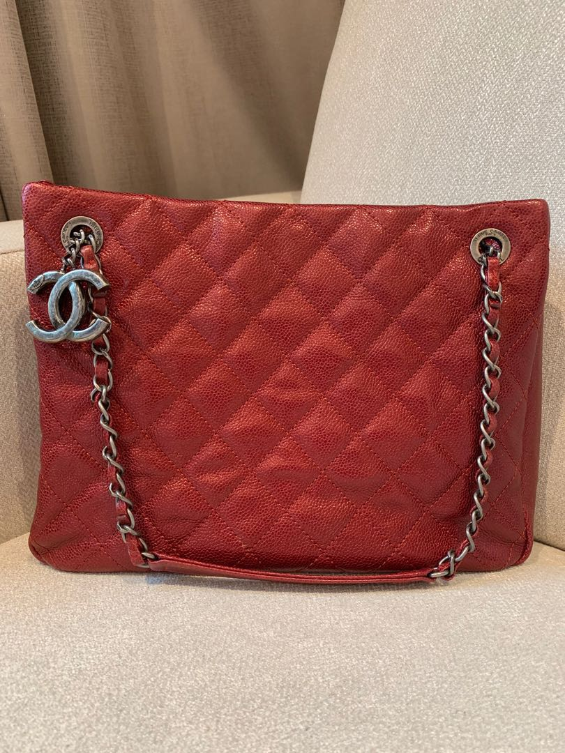 2766e69f57d Chanel Iridescent Red Calfskin Quilted Tote Bag with Vintage ...