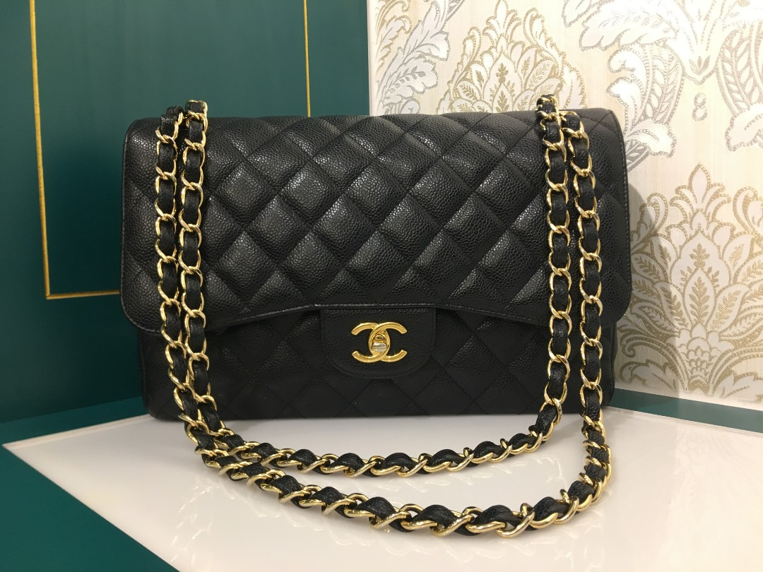 fe59bde42fad #17 Like New Chanel Jumbo Classic Double Flap Caviar Black with GHW,  Luxury, Bags & Wallets, Handbags on Carousell