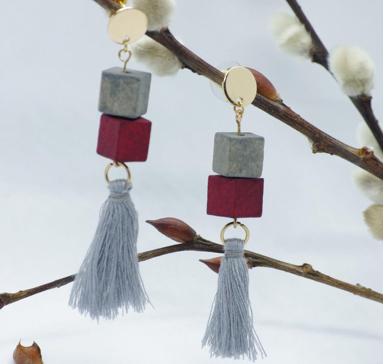 Cube tassel earrings