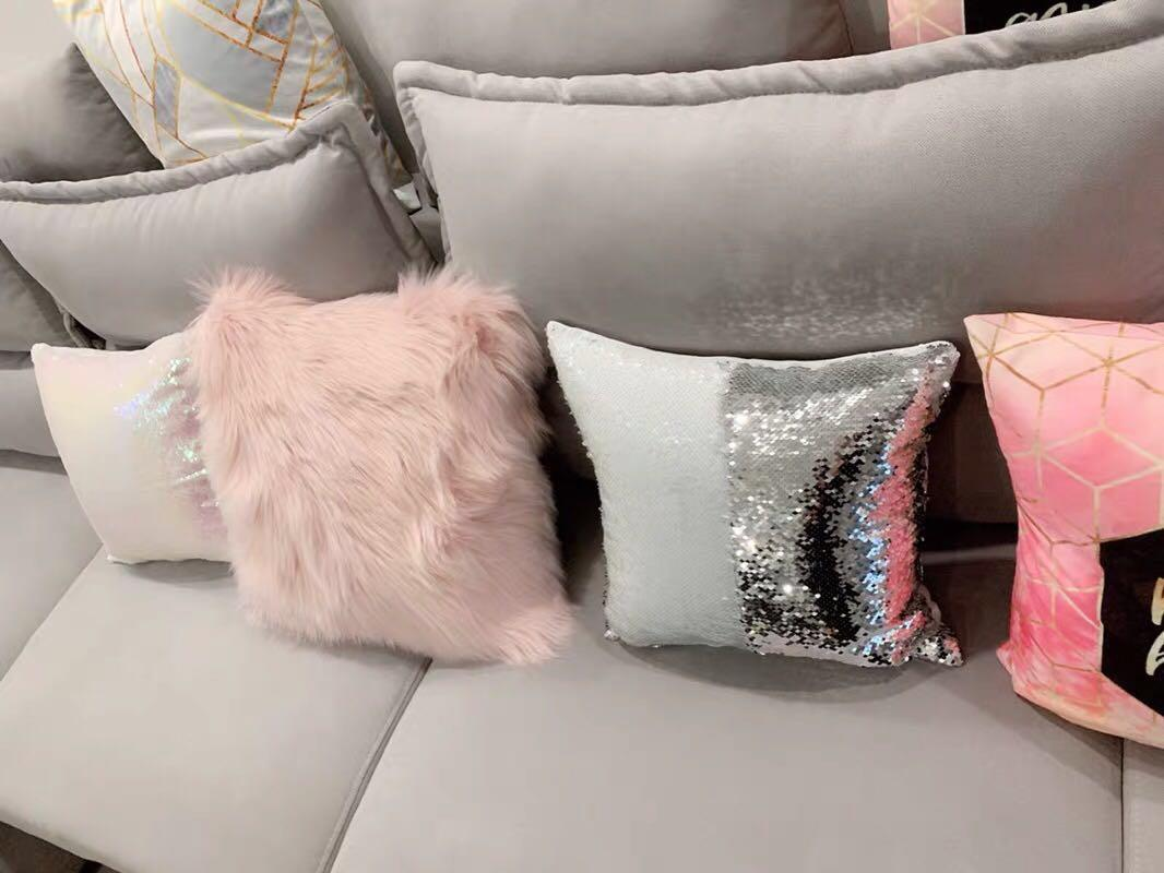 Get a Life™ - Grey Pink Fur Cushion Cover