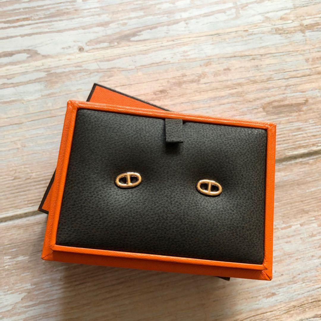 Hermes rose gold earrings