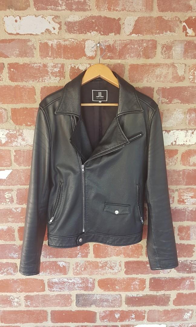 Jack London ° Black Leather Biker Jacket L Modern Fit $530