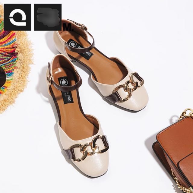 3233a7a8eb7 Khaki Nude Gold Buckle Ankle Strap Flats