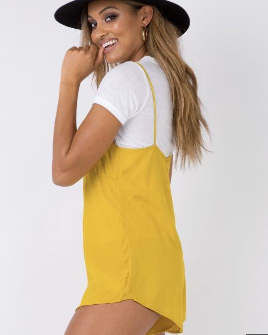Mustard princess Polly playsuit