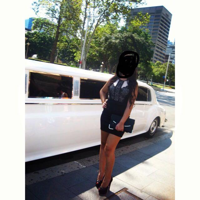 Nude & black lace dress