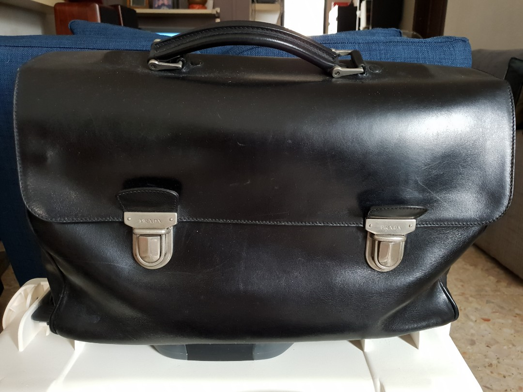 1169c9cafcb8 Prada leather briefcase, Men's Fashion, Bags & Wallets, Briefcases on  Carousell