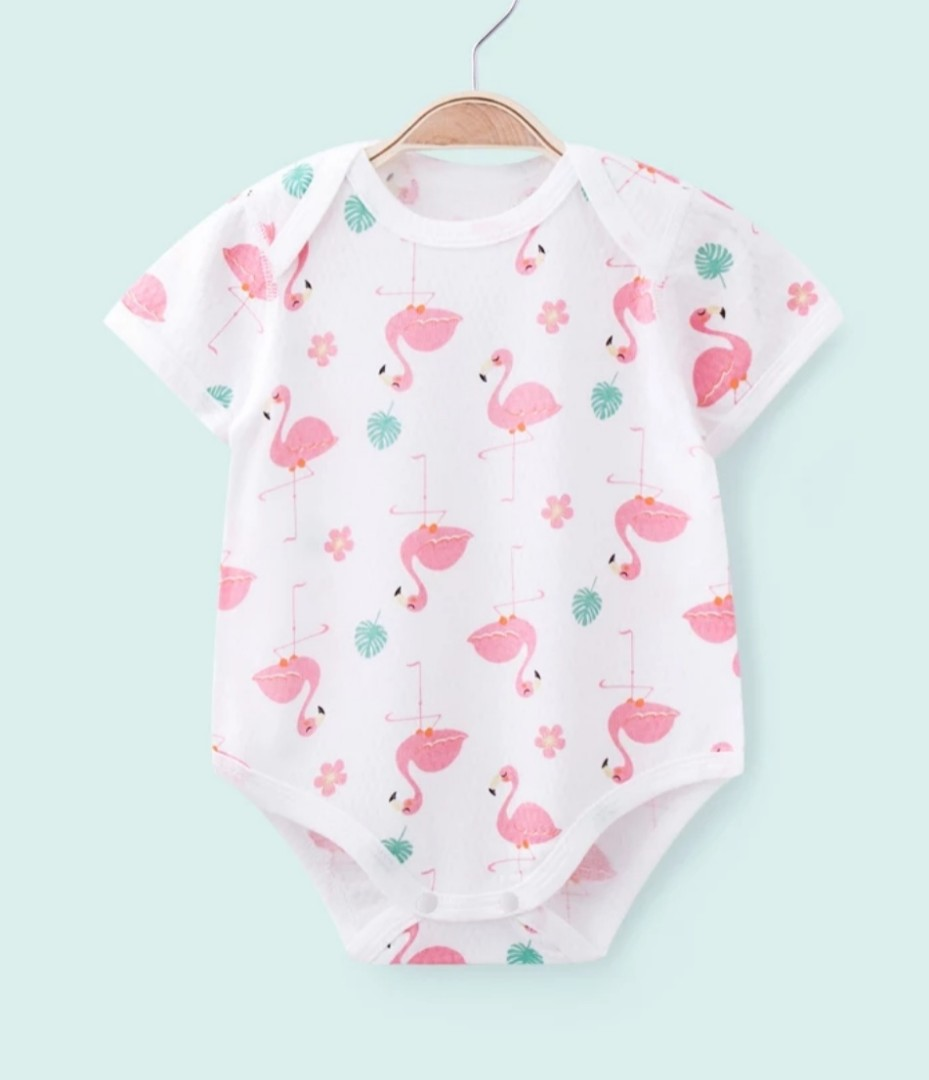 37c4433620d8 In Stock] Soft airy mesh cotton baby romper clothes sweet flamingo ...
