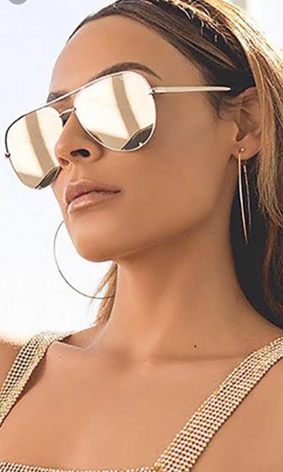 Quay x Desi Perkins HIGH KEY Aviator sunglasses in gold