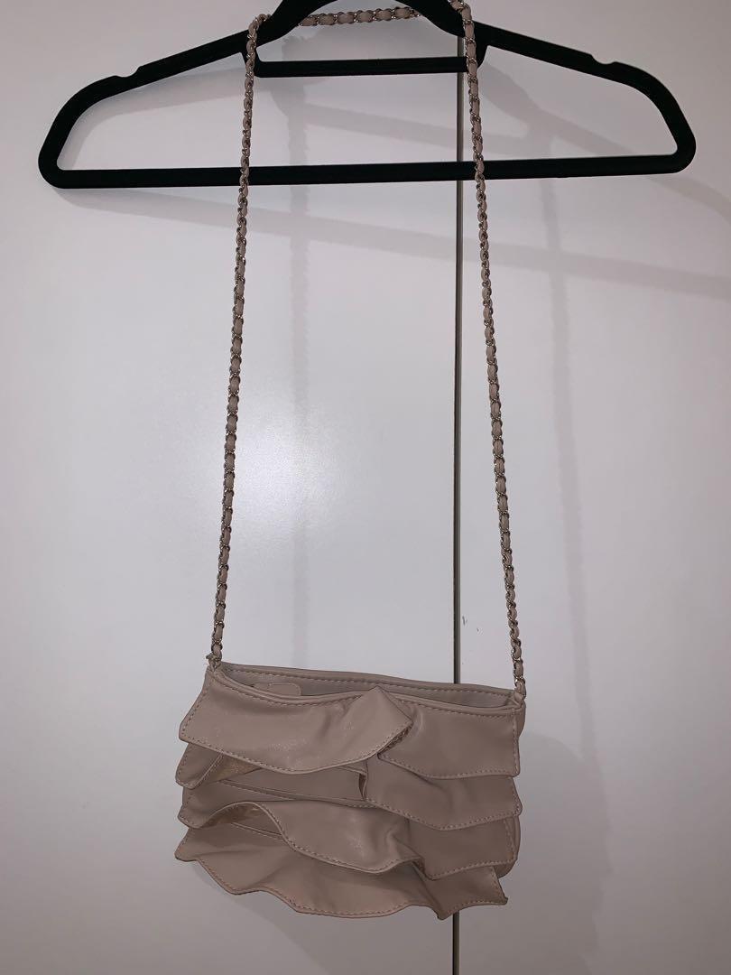 Ruffle Taupe Crossbody bag