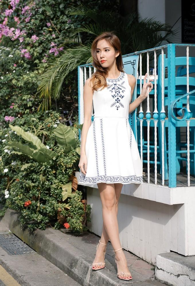 The Thread Theory Playing Cross Stitch Embriodery Dress (White)