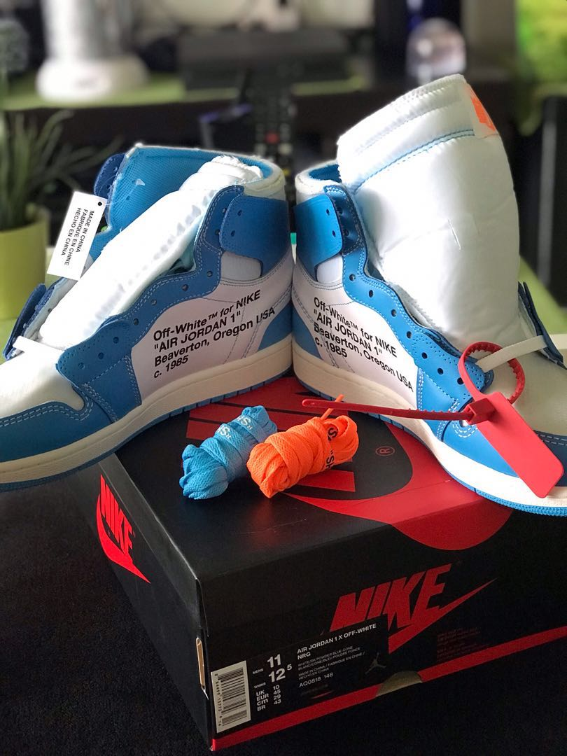 a9e3b439a58 US11] OFF-WHITE X Nike Jordan 1 UNC, Men's Fashion, Footwear ...
