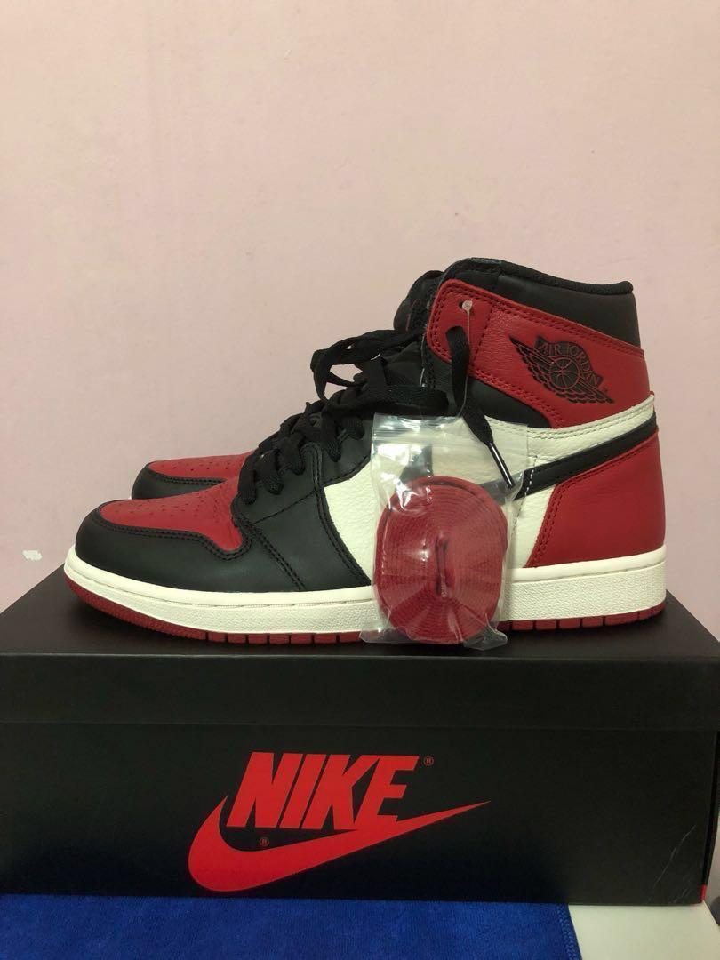 b9763a86 Us9.5 Nike Air Jordan 1 bred toes, Men's Fashion, Footwear, Sneakers ...