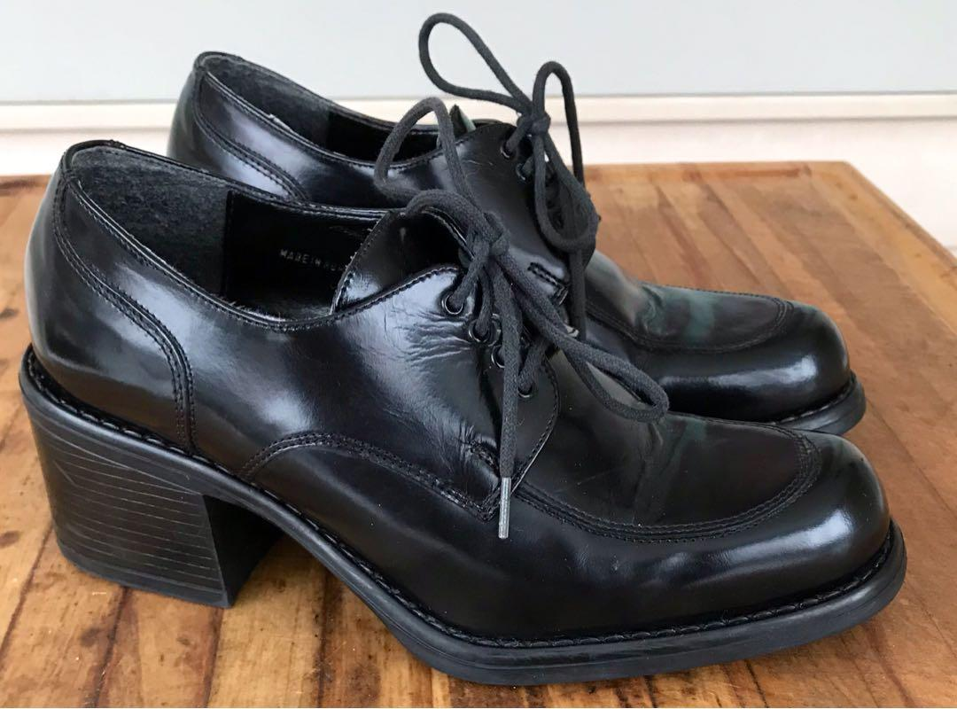 Vintage Leather Oxford Chunky Block Heel 1990s Shoes