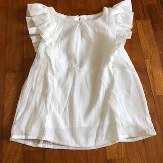 5-6Y White shimmer flutter sleeve top