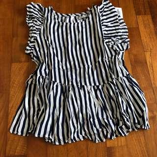 5Y NEW Bebezoo Blue Striped soft flutter top