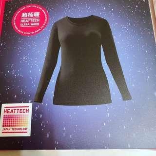 🚚 日本購入 現貨 黑色 L Uniqlo超級暖發熱衣 HEATTECH ULTRA WAR 女款圓領發熱衣 2.25 倍