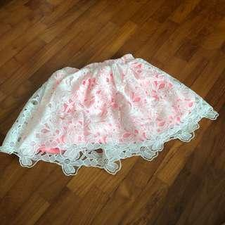 4-5Y NEW White lace eyelet skirt pink