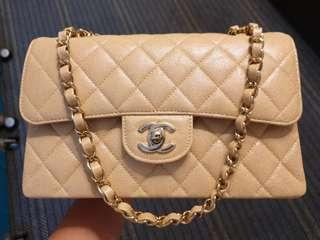 (SOLD) Small Chanel Classic 2.55 19S Irridescent Beige Caviar GHW