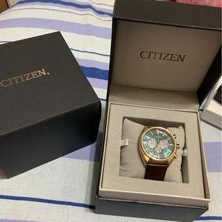citizen 光動能 金框 藍面 手錶 三眼 好看好搭