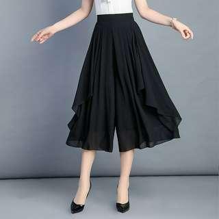 Black high waist culottes long pants #APR75
