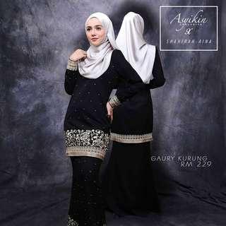 Rent baju kurung asyikin exclusive size L black color