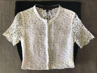 NWOT white lace black dress with short sleeves