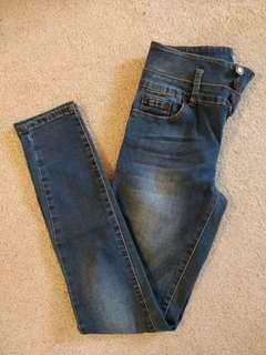Blue Washed High Rise Skinny Jeans/Bluenotes