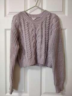 Light Purple Cropped Chunky Knit Sweater/Garage