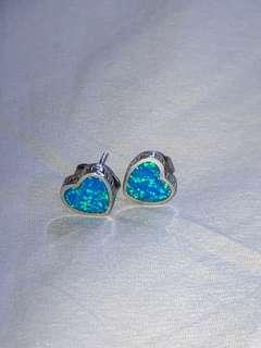 Crushed Opal + 925 Silver Heart Earrings