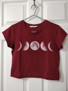 Maroon Cropped T-Shirt/Bluenotes