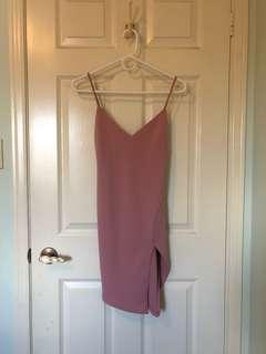M boutique pink dress with leg slit