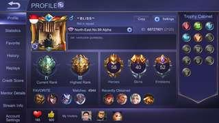 Mobile Legend Account For Sale 58 Heroes 39 Skins With Odette Butterfly Special skin
