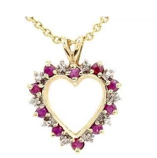 Pretty Diamond Ruby 10K Yellow Gold Heart Pendant