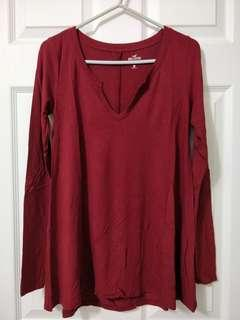 Maroon Long Sleeve Shirt/Hollister